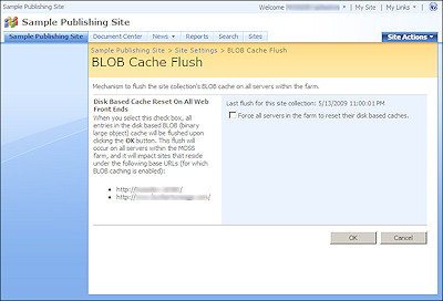 BlobCacheFarmFlush Admin Screenshot