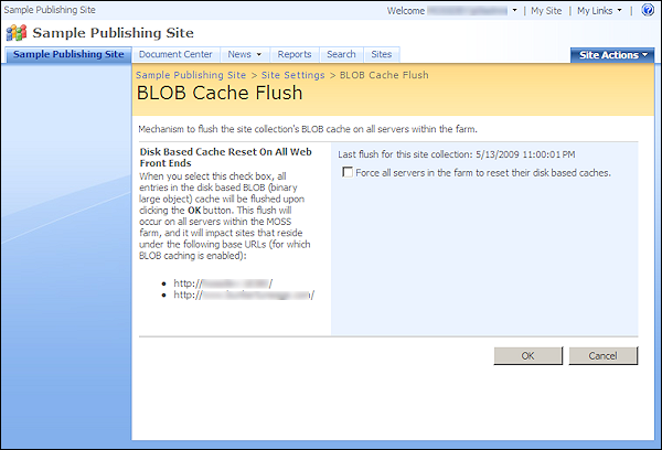 how to clear web cache in windows server 2008