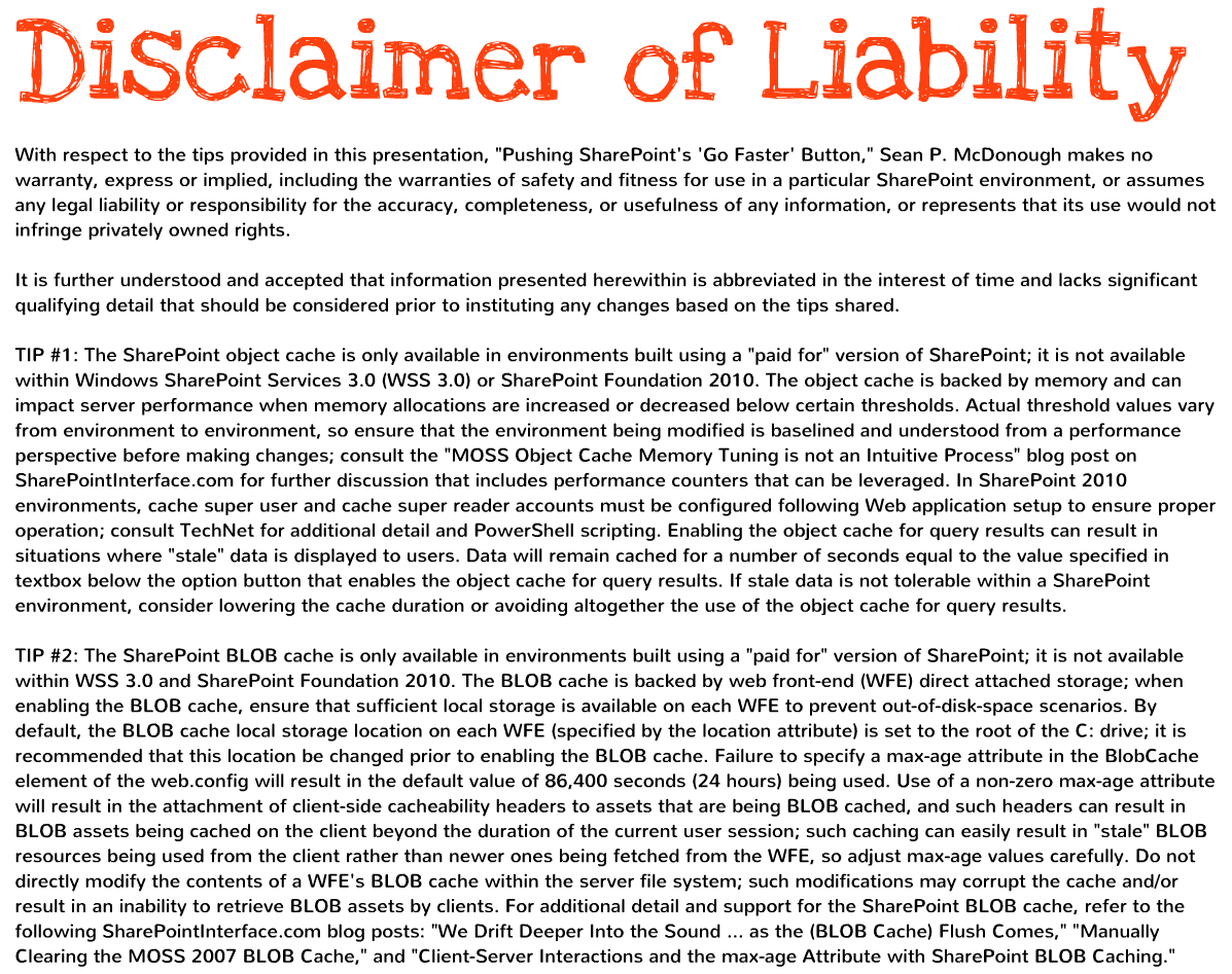 Disclaimer Text That Includes Some BLOB Cache Usage Warnings  Product Liability Disclaimer Template