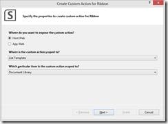 Create Custom Action for Ribbon
