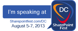 SharePoint Fest DC 2013 Speaker Badge