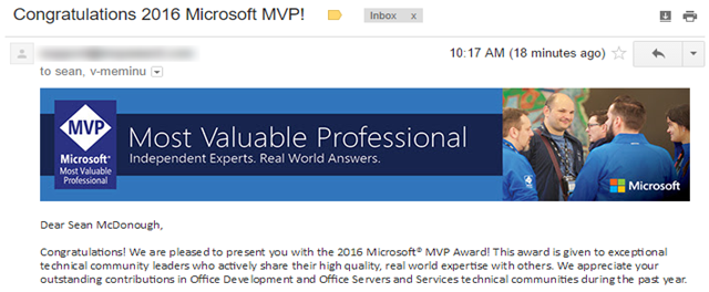 Most Valuable Professional (MVP) Email