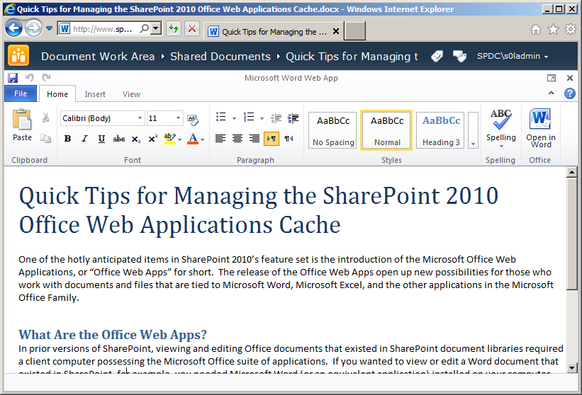 Caching – The SharePoint Interface